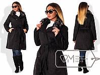 Элегантное женское пальто для пышных модниц (искусственная замша, двубортное, съемный мех) РАЗНЫЕ ЦВЕТА!