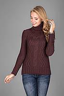 Теплый женский свитер из мягкой пряжи с воротником под горло мокко
