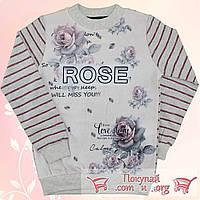 Турецкая кофта с Розами и микро начёсом для девочек от 10 до 15 лет (4845-3)