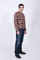 Джемпер мужской двухцветный цвет корица + лён