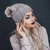 Модная теплая женская шапка структурной вязки с меховым помпоном шерсть