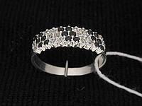 Кольцо серебро 925 проба 17 размер №1130 ЧЕРНО-БЕЛОЕ