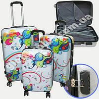 """Набор чемоданов 2+1 в подарок, Поликарбонат """"Волна"""""""