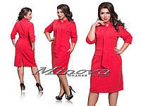 Платье женское теплое из ангоры с брошью большие размеры
