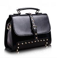 Женская стильная сумка-саквояж из натуральной кожи