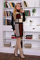 Теплое вязаное платье с поясом, цвета в ассортименте. Размер  44-46, 48-50