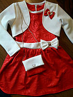 Детское нарядное платье с болеро и сумочкой для девочки, красное