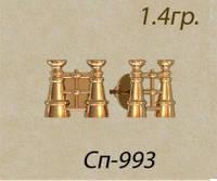 Маленькие золотые пусеты 585* пробы в форме биноклей