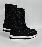 Женские зимние дутики черные со снежинками 2