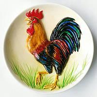 Петух - декоративная керамическая тарелка с объёмным изображением