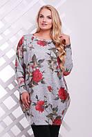 Красивая женская туника с рукавом летучая мышь с цветочным крупным принтом размеры 54 56 58 60