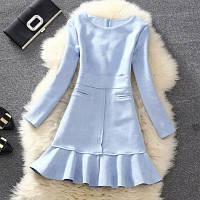 Платье женское под замш с карманами голубое
