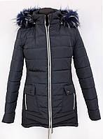 Молодёжная зимняя женская куртка чёрного цвета