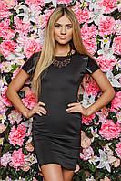 Черное платье sk house c черными кожаными вставками: s,m,xl