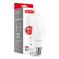 Светодиодная лампа MAXUS C37 CL-F 8W E14 3000K теплый свет 220V (1-LED-5317)