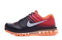 Мужские кроссовки Nike Air Max 2017 Кожаные черно-оранжевые Оригинальные