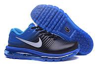 Мужские кроссовки Nike Air Max 2017 черно-синие кожаные оригинальные