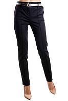 Офисные женские брюки прямого фасона в полоску со средней посадкой ткань алекс