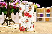 Чехол для LG K7 / X210 панель накладка с рисунком Красные цветы на белом фоне