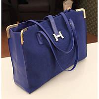 Большая сумка в стиле Hermes из качественной искусственной кожи BW5001 Синяя