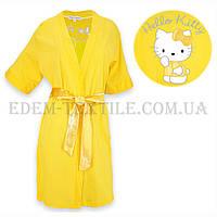 Халат женский трикотажный  Jackies Fashion 2841 Hello Kitti желтый