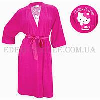 Халат женский махровый  Jackies Fashion 2850 Hello Kitti малиновый