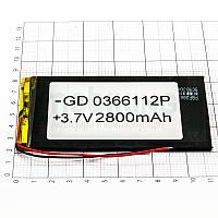 Литий-полимерная батарея 0366112P (2800mAh) универсальный аккумулятор для техники.