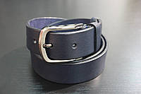 Ремень джинсовый кожаный 40мм. синий
