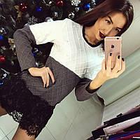"""Красивое, теплое мини-платье """"Вязка, декорировано жемчугом и кружевом"""" фабричный Китай"""