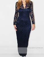 Вечернее, выпускное облегающее платье. Стрейч-кружево. Чернильное (темно-синее).