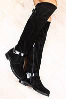 Ботфорты замшевые черные, на черной подошве, без каблука, с пряжками