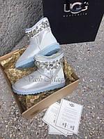 "Женские UGG & Jimmy Choo Crystals I DO White (Мини угги Джимми Чу с короной из страз ""Ай Ду"")"