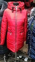 Женское зимнее пальто на холлофайбере, Пентагон красного цвета