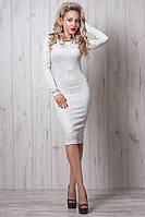 Женское жаккардовое платье прилягающего стиля - новинка осени, 44,46,48