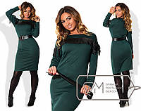 Трикотажное платье с поясом в батальных размерах x-1515916