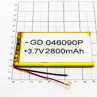 Литий-полимерная батарея 046090P (2800mAh) универсальный аккумулятор для техники.