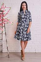Милое повседневное платье с красивым цветочным узором вырез с брошью