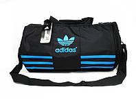 Спортивная сумка Adidas черная с голубым логотипом