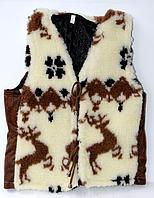 Теплая детская жилетка из овечьей шерсти коричневые олени