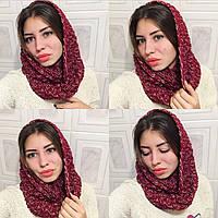 Женский вязанный шарф-снуд (хомут) меланж