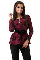 Женский красивый бордовый пиджак норма/батал