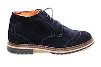 Ботинки зимние мужские замшевые, кожанные  TOP - HOLE  blue (ТОП ХОЛ)