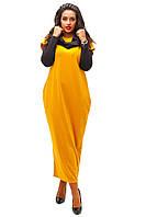Длинное женское платье свободного фасона с контрастными рукавами и хомутом французский трикотаж батал