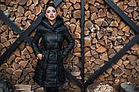 Тёплое стеганное женское пальто на синтепоне  ал08164