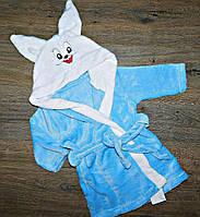 """Детский махровый банный халат """"Зайка"""", с капюшоном, рост от 86 до 128 см"""