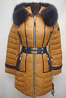 Зимняя куртка женская на замке с капюшоном коричневая