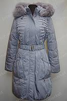 Зимняя куртка женская  на замке с капюшоном голубая