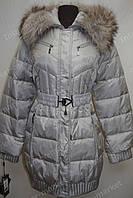 Зимняя куртка на замке с капюшоном серая
