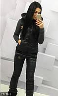 Утепленный женский спортивный костюм тройка кофта с капюшоном жилетка штаны трехнить