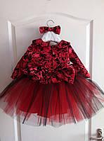 Нарядное платье на девочку с пышной фатиновой юбкой и принтованным верхом